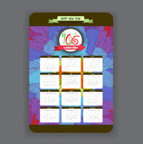 Doodles floral Calendar 2016 year design.  Stock Photo