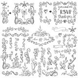 Doodles floral decor set.Borders,elements,Frame Royalty Free Stock Photography
