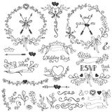 Doodles floral decor set.Borders,elements,wreath Stock Photo
