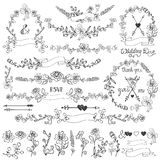 Doodles floral decor set.Wreath,Borders,elements Stock Photo