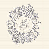 Doodles floral frame on grunge paper, vector illustration. Hand Stock Photos