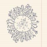 Doodles floral frame on grunge paper, vector illustration. Hand Stock Photos