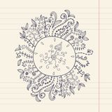Doodles floral frame on grunge paper, vector illustration. Hand Royalty Free Stock Images