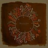 Doodles floral frame on grunge paper, vector illustration. Hand Stock Photography