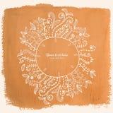 Doodles floral frame on grunge paper, vector illustration. Hand Royalty Free Stock Images
