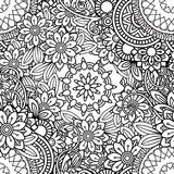 Doodles Floral Seamless Pattern Stock Photography