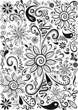 Doodles Flowers and Leafs Royalty Free Stock Images
