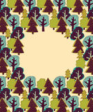 Doodles forest color border frame. Stock Images
