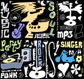 Doodles funny music Stock Photography