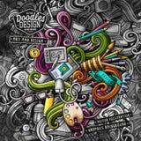 Doodles graphic design vector illustration. Creative art background. Doodles graphic designer vector illustration. Creative art background. Colorful stylish card Stock Illustration