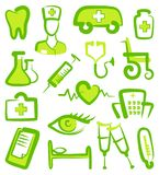 Medical icons. Vector illustration. Doodles green medicine symbols. Vector stylized icons Royalty Free Stock Photo