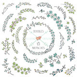 Doodles hand drawn branches set Royalty Free Stock Photo