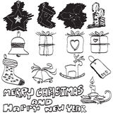 Doodles hand drawn Christmas set,  Royalty Free Stock Photography