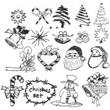 Doodles hand drawn Christmas set, vector Stock Photo