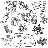 Doodles hand drawn Christmas set, vector Royalty Free Stock Photos