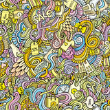 Doodles hand drawn sale shopping seamless pattern Royalty Free Stock Image