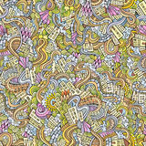 Doodles hand drawn town. seamless pattern Stock Photos