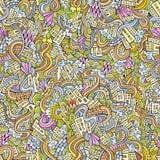 Doodles hand drawn town. seamless pattern Stock Photos