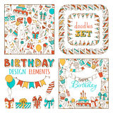 Doodles Happy Birthday Set. Seamless pattern, garland frames, square background and various design elements on white background Royalty Free Stock Image