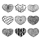 Doodles hearts set. Vector illustraition Royalty Free Stock Image