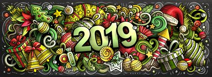 2019 doodles horizontal illustration. New Year objects and elements poster. 2019 hand drawn doodles horizontal chalkboard illustration. New Year objects and vector illustration