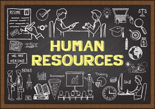 Doodles about human resources on chalkboard. Doodles about human resources on chalkboard Royalty Free Stock Image