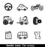 Doodles icons with cars Stock Images