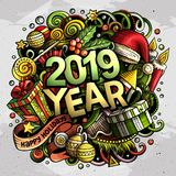 2019 doodles illustration. New Year objects and elements poster design. 2019 hand drawn doodles illustration. New Year objects and elements poster design stock illustration