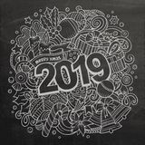 2019 doodles illustration. New Year objects and elements poster design. 2019 hand drawn doodles illustration. New Year objects and elements poster design royalty free illustration
