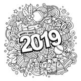 2019 doodles illustration. New Year objects and elements poster design. 2019 hand drawn doodles illustration. New Year objects and elements poster design vector illustration