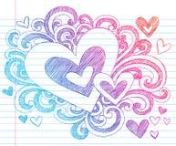 Doodles incompletos del amor de la tarjeta del día de San Valentín de los corazones ilustración del vector