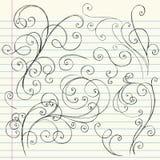 Doodles incompletos del cuaderno de los remolinos ilustración del vector