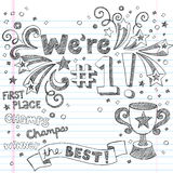 Doodles incompletos del cuaderno del campeón del trofeo de los deportes Imágenes de archivo libres de regalías