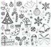 Doodles incompletos a mano de la Navidad Imágenes de archivo libres de regalías