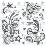 Doodles incompletos a mano de las estrellas fugaces Imagen de archivo