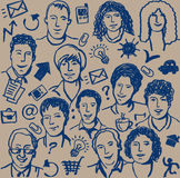Doodles ink business icon and sketch of people sea Stock Photos