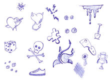 doodles ink pen Arkivfoton