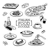 Doodles of Italian Menu. Stock Image