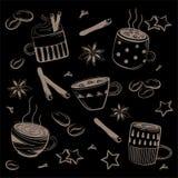 Doodles kawa set Wektor dla śniadania Royalty Ilustracja