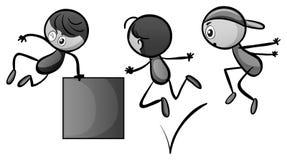 Doodles kid doing free jump Stock Photo