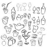 Doodles koktajle i desery, owoc, kawa, alkohol, bar Zdjęcia Royalty Free