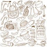 doodles kuchnię royalty ilustracja