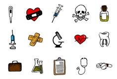 Doodles médicos ajustados Imagens de Stock Royalty Free