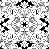 Doodles mandala seamless pattern. Adult coloring page. Black and white floral elements. Repeat pattern background. Hand drawn vector illustration Stock Image