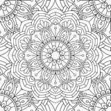 Doodles mandala seamless pattern. Adult coloring page. Black and white floral elements. Repeat pattern background. Hand drawn vector illustration Royalty Free Stock Image