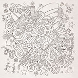 Doodles marine nautical vector background Royalty Free Stock Image