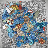 Doodles marine nautical vector background Stock Photo