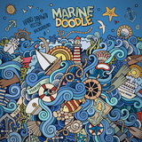 Doodles marine nautical vector border Royalty Free Stock Photography