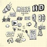 Doodles Medialni Obrazy Stock