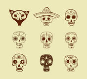 Doodles, mexican skull set, day of the dead Stock Images